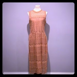 Midi Lace Dress with slip underlay.